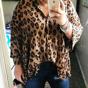 Free People Cheetah Print shirt